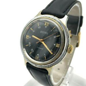 Soviet-Men-039-s-VOSTOK-Bicolored-Watch-USSR-Analog-Roman-Numerals-Mechanical-Rare