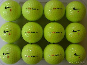 24 NIKE RZN  BLACK   YELLOW GOLF BALLS PEARL  GRADE A FREE DELIVERY ... 70ed967a81