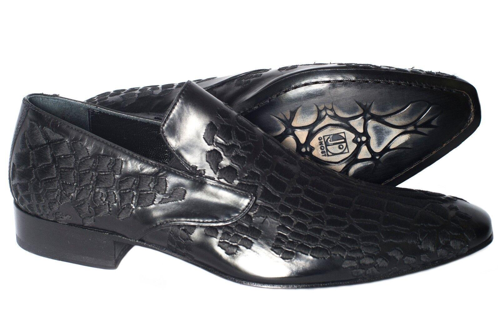 Jo GHost 3484Bis Italian Mens nero slip on scarpe with embroidery