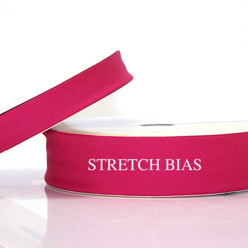 ALL COLOURS  20m ROLL 1m or 5m STRETCH BIAS BINDING trim 18mm or 30mm width