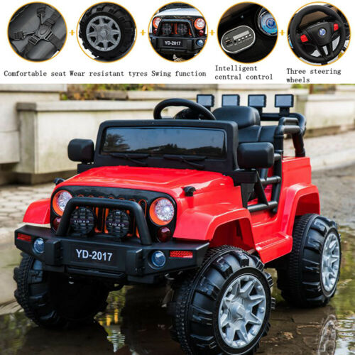 Red 12V 3 Speed Kids Ride on Car Electric Battery Wheel Remote Control Jeep