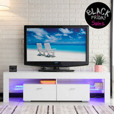 TV Stand High Gloss White Cabinet Console Furniture W/led Shelves 2 Drawers