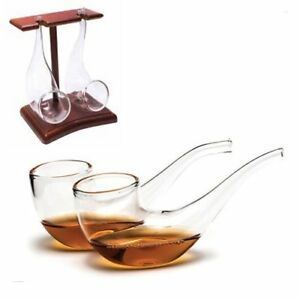 Set-of-2-BRANDY-Sipping-Glasses-With-WOODEN-STAND-Pipe-Whisky-Port-Sippers-Gift