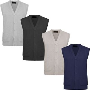 MENS-CLASSIC-SLEEVELESS-BUTTON-UP-CARDIGAN-KNITWEAR-POCKETS-GRANDDAD-SWEATER-TOP