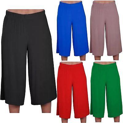 Aus Dem Ausland Importiert New Womens Plain Casual Wide Leg Culottes Short 3/4 Length Trousers Pants 8-26 Ohne RüCkgabe