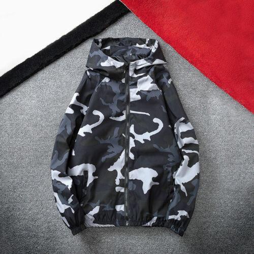 Camo Hommes Bomber Veste Motard à Capuche Blazer Manteau Coupe-Vent à Capuche