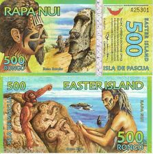 EASTER ISLAND 500 Rongo Banknote World Money UNC Currency Statues BILL FUN Note