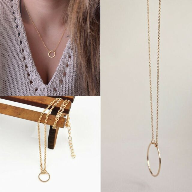 Clavicle Necklace Charm Circle Pendant Gift Round Jewelry
