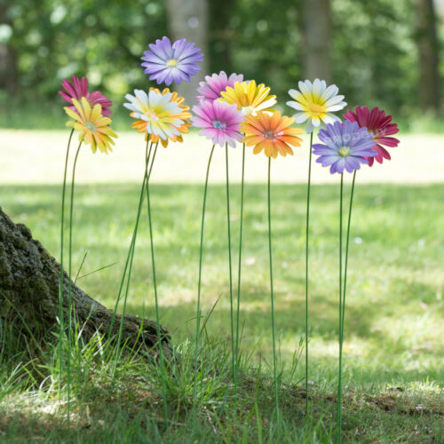 Set of 12 Colour Metal Flower Garden Stakes 59cm Long Outdoor Decoration Flowers