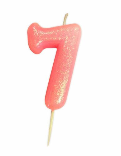 ** 10CM PINK GLITTER NUMBER 7 CANDLE 7th BIRTHDAY PARTY CAKE DECORATION NEW **