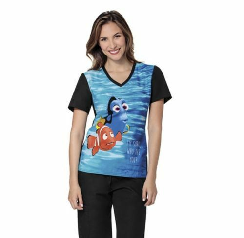 Cherokee Women V-Neck Nemo Print Scrub Top 6834CB FNAY Sizes S-2XL