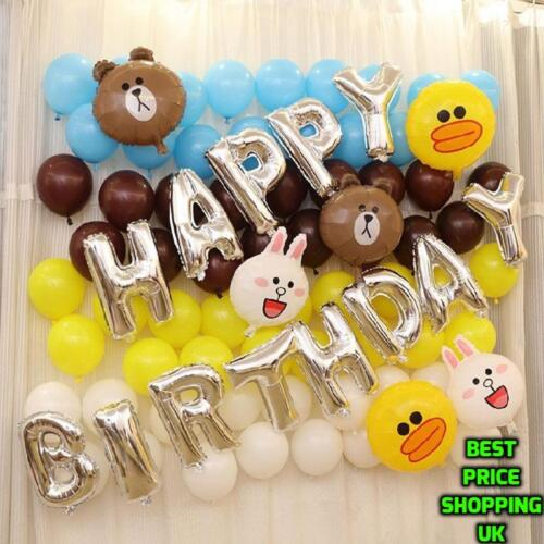 """GIANT 16/"""" HAPPY BIRTHDAY SELF INFLATING BALLOON BANNER BUNTING PARTY DECORATION"""