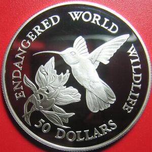 1990-COOK-ISLANDS-50-SILVER-PROOF-BEE-HUMMINGBIRD-ENDANGERED-WILDLIFE-RARE-COIN