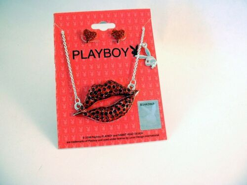 """PLAYBOY Bunny 16/""""  NECKLACE Set SILVER Plated CRYSTAL Red LIPS /& HEART EARRINGS"""