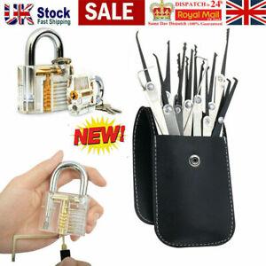 19PCS Unlocking Lock Pick Set Key Extractor Transparent Practice Padlocks UK
