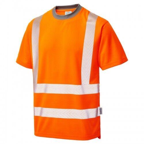 Leo Workwear Larkstone Hi-Vis T-Shirt Orange//Yellow