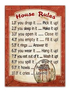 Country-Tin-Sign-Vintage-Inspired-Wall-Art-HOUSE-RULES-Plaque-NEW