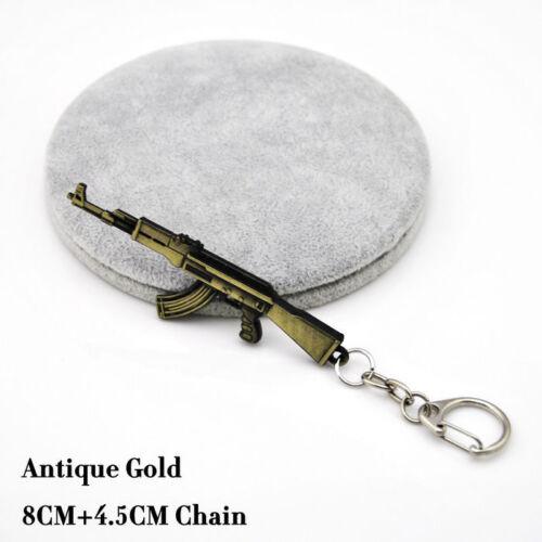 Metal Sniper AK47 RPG Silver Gun Keyring Key Chain Ring Fob Shoot Army Style