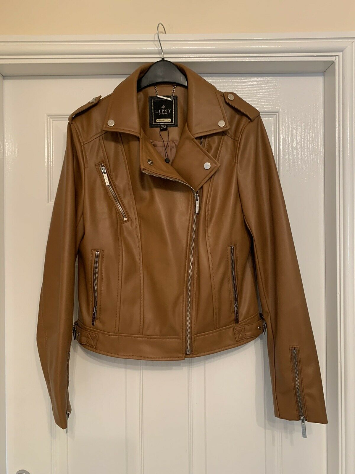 Lipsy London Tan Brown Leather Look Jacket - Size 12 - Silver Zips - VGC