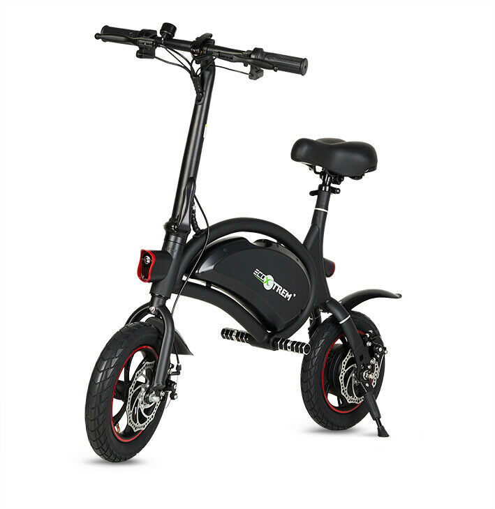 Bicicleta electrica plegable mini 250w bateria 36v 6-8Ah ligera 20km color negro