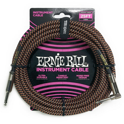 Black /& Orange Ernie Ball P06064 25/' Foot Braided Right Angle Instrument Cable