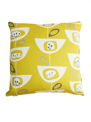 John Lewis VTG/Retro Scandinavian print fabric Cushion Cover - Seedhead Yellow