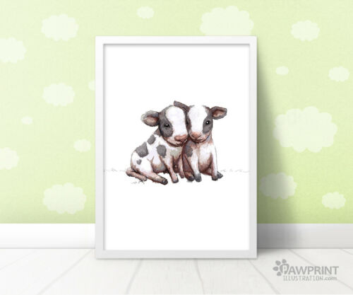 Twin Cow Farm Nursery Art PrintGender Neutral Baby Shower GiftUnframed