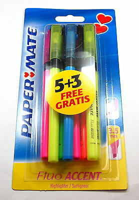 Papermate Fluo Accent Fluorescent Highlighters Coloured Chisel Tip Markers Pens