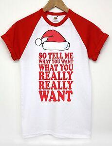 8a3848fa SO TELL ME WHAT YOU WANT T SHIRT FUNNY CHRISTMAS SANTA TOP MEN WOMEN ...