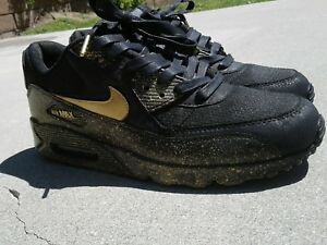 Men s Nike Air Max 90 Black Gold Size 9.5 Customized  26c34f5240
