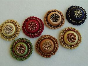 SET OF FOUR Rosettes ~ Key Tassels Window Treatments Pillows Chairs ~ 7 Colors