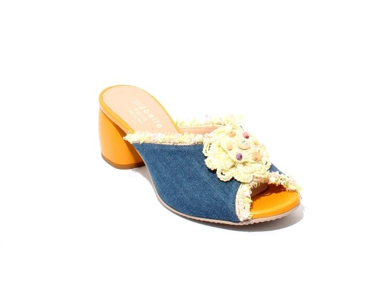 Isabelle 50 Multi-color Denim Leather Chunky Heel Slides Sandals 38   US 8