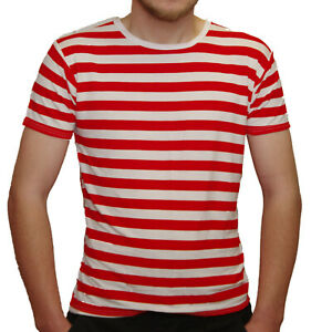 MEN-039-S-RED-WHITE-STRIPED-SHORT-SLEEVE-T-SHIRT-FANCY-DRESS-PIRATE-FRENCHMAN-UNISEX