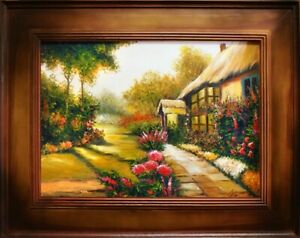 Oil-Painting-Pictures-Garden-Handmade-with-Frame-G16910