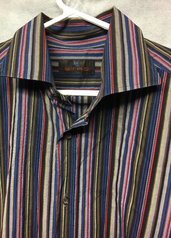 d559cfa3 ETRO Milano Multi-color Striped Long Sleeve Luxury Shirt Men's Size 43 XL