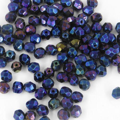 F6 HE *** 30 perles à facettes verre de Bohême 6MM HELIOTROPE