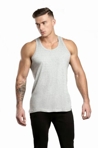 Vests-100/%Pure-Cotton-Gym Mens-3-Pack-Fitted-Stretch-op-Summer-Training-Tank Top