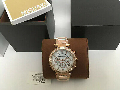 Michael Kors MK5491 Rose Gold Tone Glitz Parker Watch 691464758868 | eBay