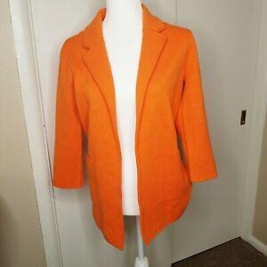 J-Crew-365-Women-039-s-Orange-Sophie-Open-Front-Knit-Sweater-Blazer-Size-XS-Preppy