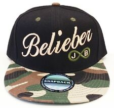 JUSTIN BIEBER BELIEBER Snapback Cap Military Camouflage Camo with Infinite Ring