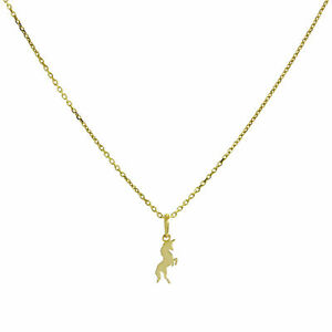 Real-375-9ct-Gold-Unicorn-Necklace-16-20-Inches-Magic-Fairytales-Story