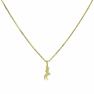 2019 Neuestes Design Real 375 9ct Gold Unicorn Necklace 16 - 20 Inches Magic Fairytales Story