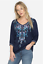 Beautiful-JOHNNY-WAS-Floral-Embroidered-BLUE-MOON-Button-Neck-Tunic-S-228 thumbnail 12