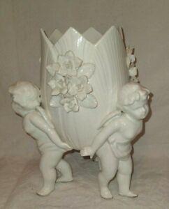 Vintage Japan Cherub Planter Vase Floral Lenwile Ardalt #7547 White Porcelain