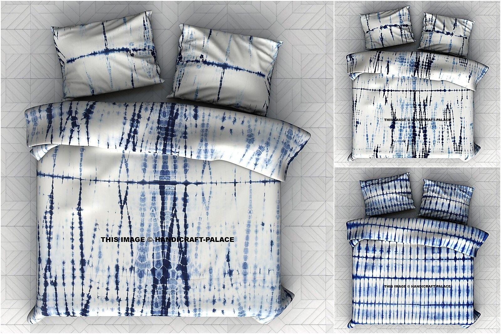 Indian Tie & Dye Shibori Cotton Wall Hanging Queen Size Bed Sheet Bedding Pillow
