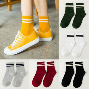 84c70b24e Image is loading Women-Girls-Cotton-Ankle-Socks-Stripes-Fashion-Solid-