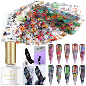 Halloween-Nail-Art-Foil-Transfer-Stickers-Foils-Printing-Gel-DIY-Kit-BORN-PRETTY