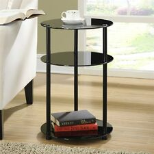 Convenience Concepts 157007B Classic Glass 3-Tier Round Table