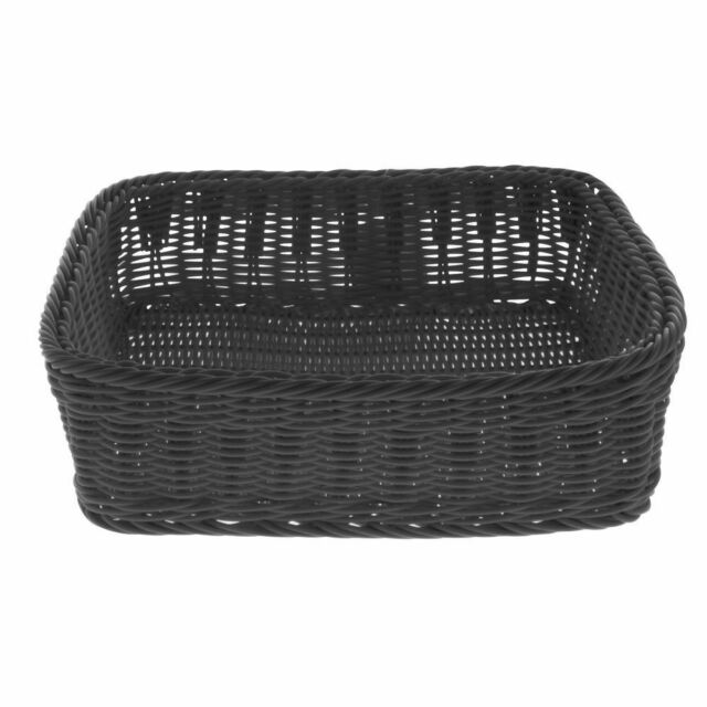 Basket Black Wicker 26 L x 18 W x 4 H