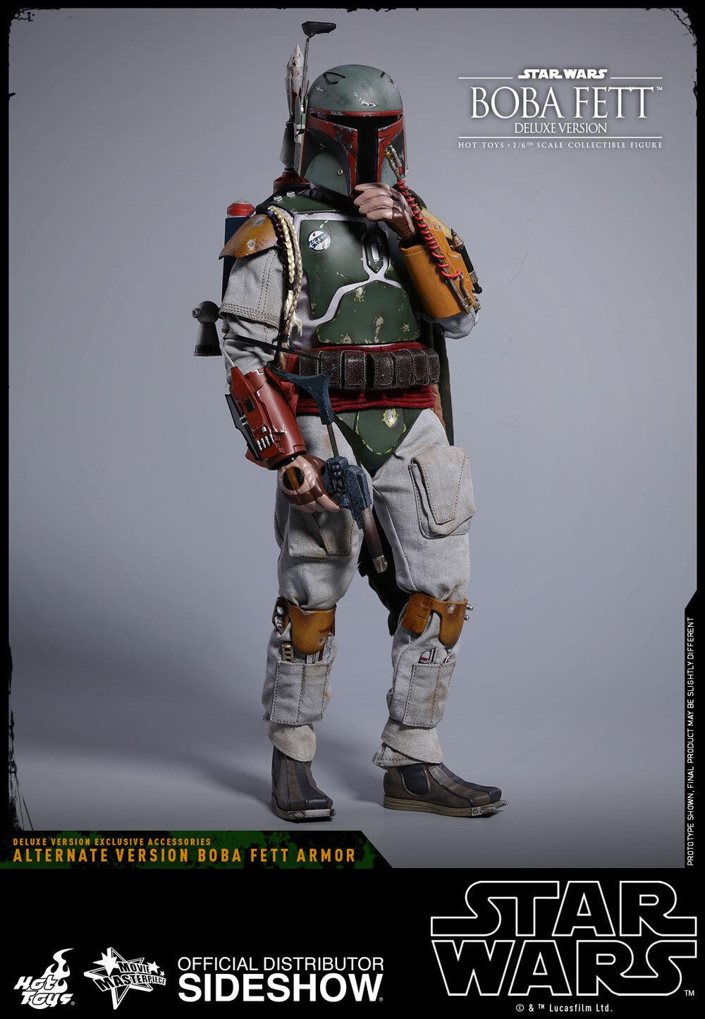 Hot Toys Boba Fett versión Deluxe Star Wars Imperio Contraataca figura de escala 16 nuevo en la acción
